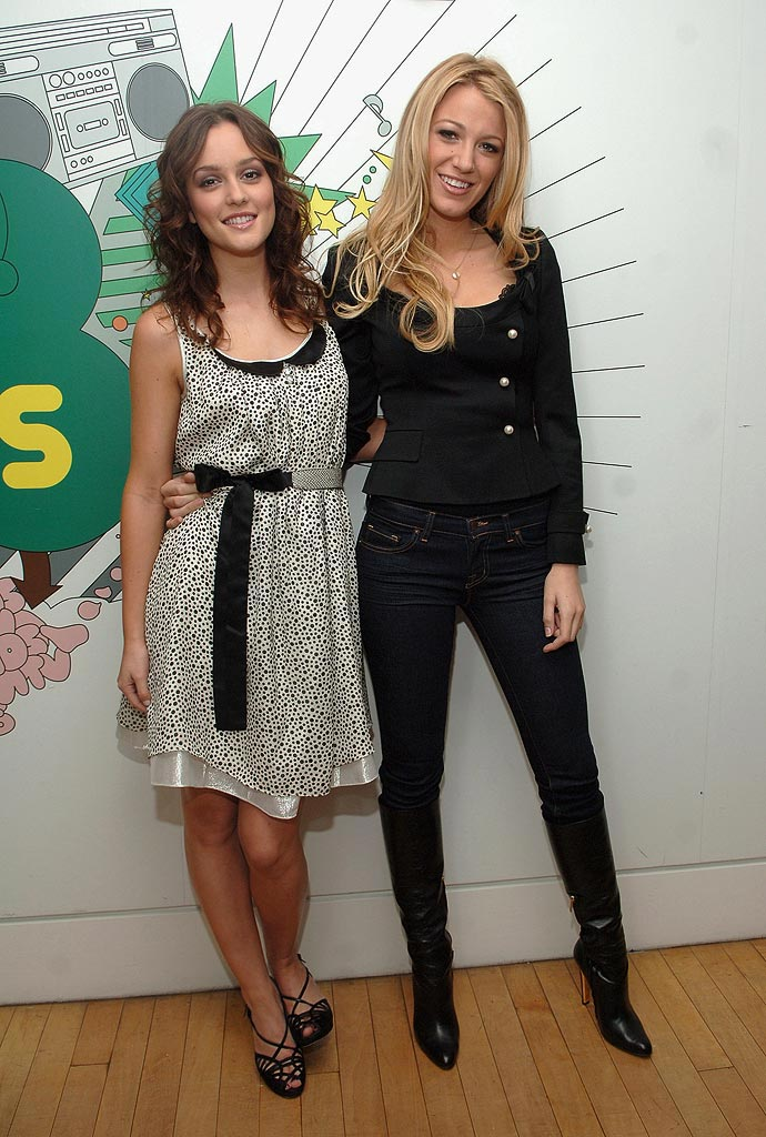 "Leighton Meester and actress Blake Lively from ""Gossip Girl""  at MTV's TRL."