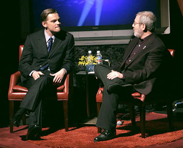 Leonardo DiCaprio talks with Leonard Maltin 20th Annual Santa Barbara International Film Festival - Platinum Award Tribute Arlington Theatre, Santa Barbara, CA - 1/30/2005