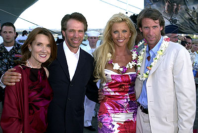 "Premiere: Mr. and Mrs. Jerry Bruckheimer with ""Playboy"" Playmate Lisa Dergan and Michael Bay aboard the USS John C. Stennis at the Honolulu, Hawaii premiere of Touchstone Pictures' Pearl Harbor - 5/21/2001"