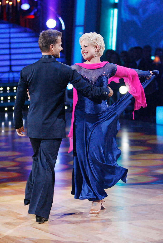 "Kelly Osbourne and Louis Van Amstel perform the Viennese Waltz to ""Trouble"" by Ray LaMontagne on ""Dancing with the Stars."""