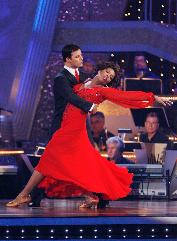 "Macy Gray and Jonathan Roberts perform the Viennese Waltz to ""(You Make Me Feel Like A) Natural Woman"" by Aretha Franklin on ""Dancing with the Stars."""