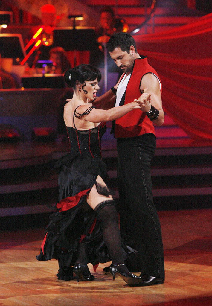 "Debi Mazar and Makism Chmerkovskiy perform the Tango to ""El Tango de Roxanne"" from ""Moulin Rouge!"" on ""Dancing with the Stars."""