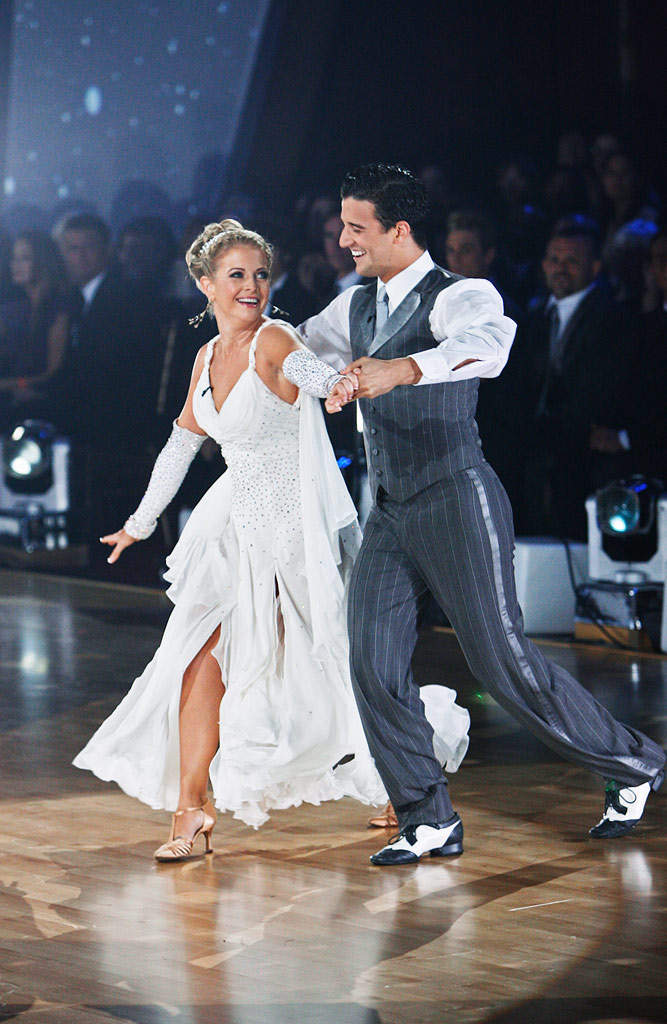 "Melissa Joan Hart and Mark Ballas perform the Viennese Waltz to ""The Time of My Life"" by David Cook on ""Dancing with the Stars."""