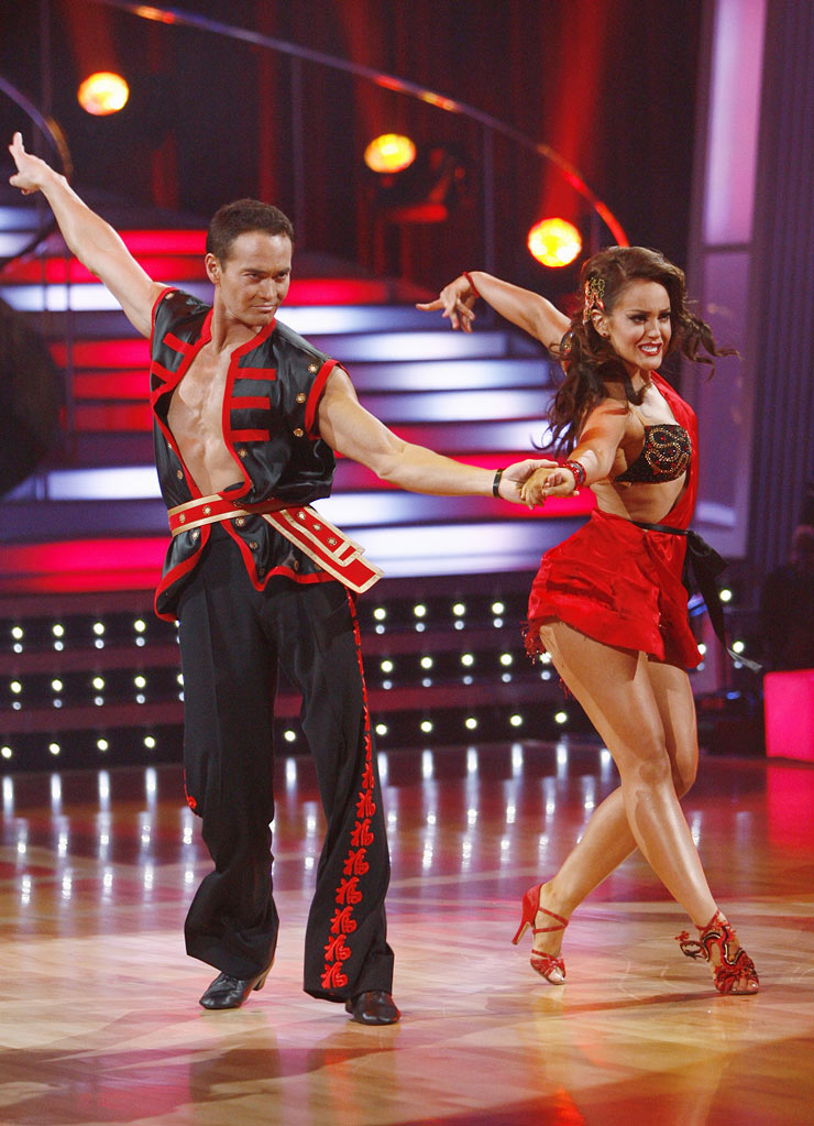 "Mark Dacascos and Lacey Schwimmer perform the Cha-Cha-Cha to ""Kung Fu Fighting"" by Carl Douglas on ""Dancing with the Stars."""