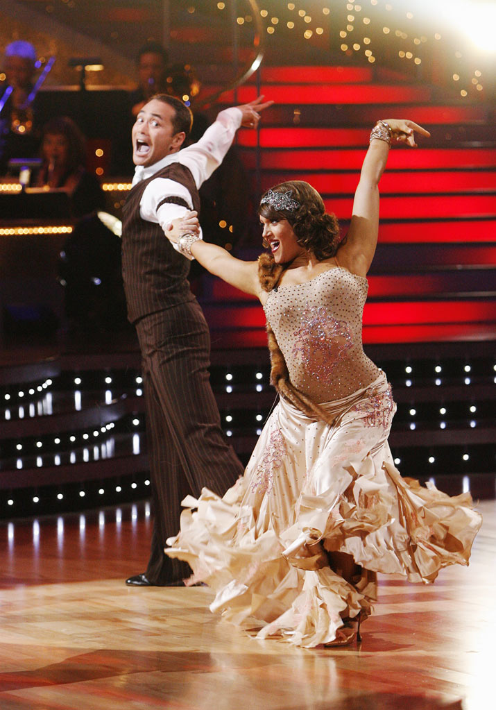 "Mark Dacascos and Lacey Schwimmer perform the Quickstep to ""King of Swing"" by Big Bad Voodoo Daddy on ""Dancing with the Stars."""