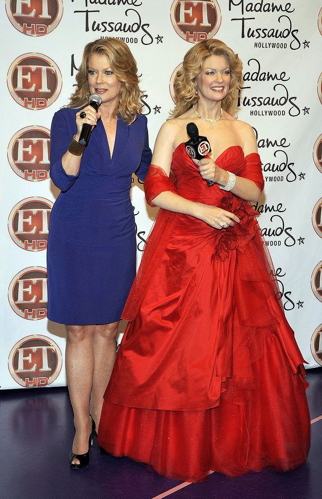Mary Hart (L) attends the unveiling of her wax figure at Madam Tussauds on November 9, 2009 in Hollywood, California.