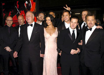 Premiere: Director Steven Soderbergh, Bruce Willis, Producer Jerry Weintraub, Vincent Cassel, George Clooney, Catherine Zeta-Jones, Brad Pitt, Scott Caan, Matt Damon and Eddie Izzard at the Hollywood premiere of Warner Bros. Ocean's Twelve - 12/8/2004