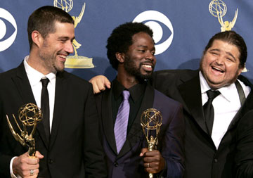 "Matthew Fox, Harold Perrineau, Jr. and Jorge Garcia of ""Lost"" 57th Annual Emmy Awards Press Room - 9/18/2005"
