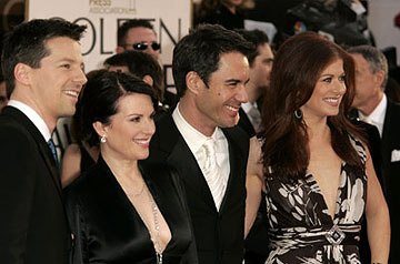 Sean Hayes, Megan Mullally, Eric McCormack and Debra Messing 63rd Annual Golden Globe Awards - Arrivals Beverly Hills, CA - 1/16/06