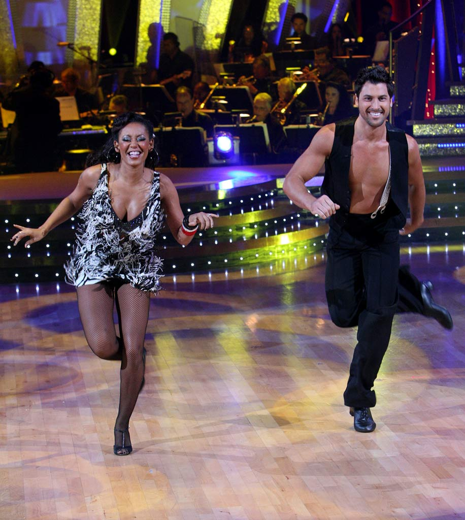 Melanie Brown and Maksim Chmerkovskiy perform a dance on the 5th season of Dancing with the Stars.