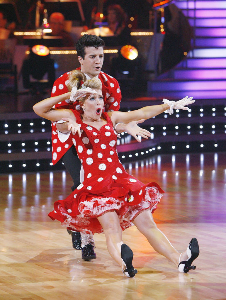 "Melissa Joan Hart and Mark Ballas perform the Jive to ""Long Tall Sally"" by Little Richard on ""Dancing with the Stars."""