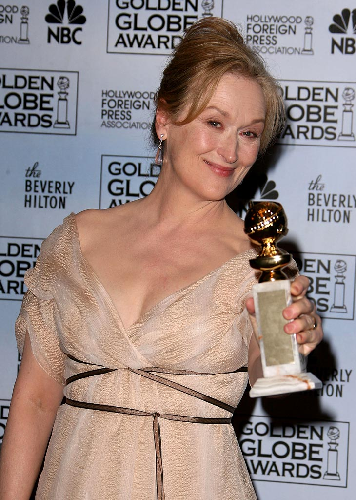 "Meryl Streep, winner Best Performance by an Actress in a Motion Picture - Musical or Comedy for ""The Devil Wears Prada,"" at the 64th annual Golden Globe Awards."