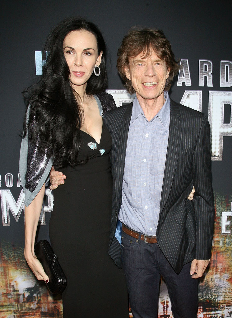"Mick Jagger and L'Wren Scott attend the premiere of ""Boardwalk Empire"" at the Ziegfeld Theatre on September 15, 2010, in New York City."