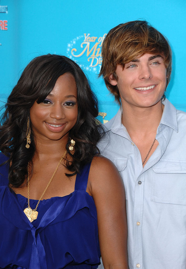 Monique Coleman and Zac Efron arrive at the world premiere of High School Musical 2 at Downtown Disney.
