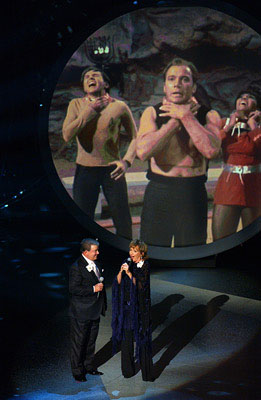 "William Shatner and Frederica Von Stade perform ""Star Trek"" (pictured - Walter Koenig, Shatner, Nichelle Nichols) Emmy Awards - 9/18/2005"