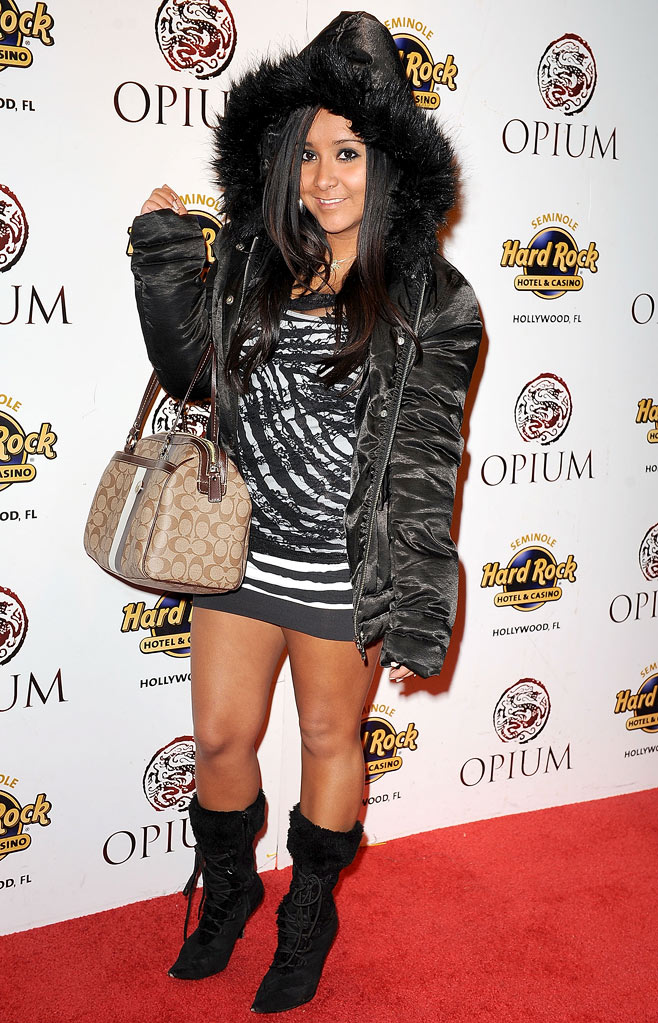 Nicole 'Snooki' Polizzi arrives at Opium at Seminole Hard Rock Hotel on January 9, 2010 in Hollywood, Florida.