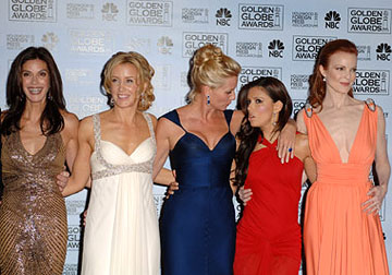 "Teri Hatcher, Felicity Huffman, Nicollette Sheridan, Eva Longoria and Marcia Cross ""Desperate Housewives"" - Best Television Series - Musical or Comedy 63rd Annual Golden Globe Awards - Press Room Beverly Hills, CA - 1/16/06"