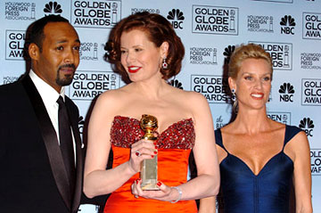 "Jesse L. Martin, Geena Davis and Nicollette Sheridan Best Actress in a Drama Series - ""Commander-in-Chief"" 63rd Annual Golden Globe Awards - Press Room Beverly Hills, CA - 1/16/06"