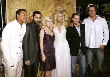 Premiere: Robert Ri'chard, director Jaume Collet-Serra, Elisha Cuthbert, Paris Hilton, Jon Abrahams and Brian Van Holt at the Westwood premiere of Warner Bros. Pictures' House of Wax - 4/26/2005