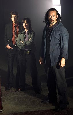 "Adam Goldberg as Detective Michael Maddison, Parker Posey as Detective Carson O'Conner and Vincent Perez as Deucalion USA Network's ""Frankenstein"""