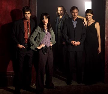"Adam Goldberg as Detective Michael Maddison, Parker Posey as Detective Carson O'Conner, Vincent Perez as Deucalion, Thomas Kretschmann as Victor Helios and Ivana Milicevic as Erika Helios USA Network's ""Frankenstein"""