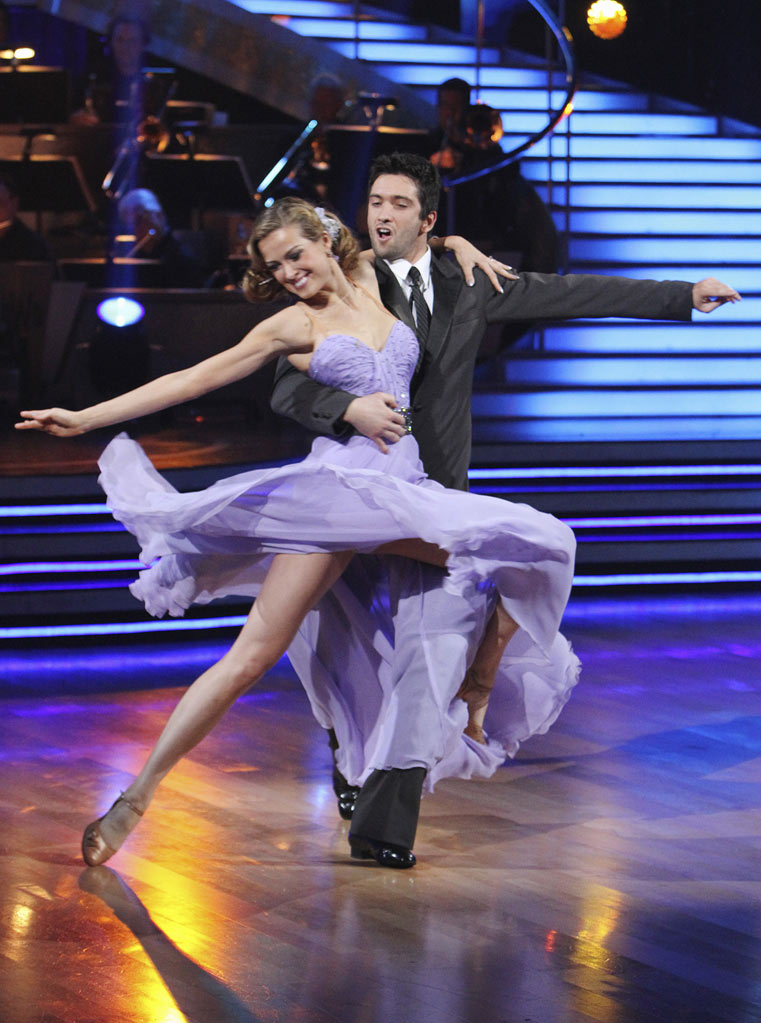 "Petra Nemcova and Dmitry Chaplin perform the Foxtrot on ""Dancing with the Stars."""