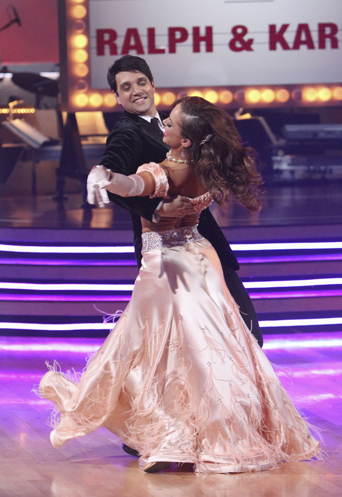 "Ralph Macchio and Karina Smirnoff perform the Foxtrot on ""Dancing with the Stars."""