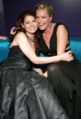 Debra Messing and Rebecca Romijn-Stamos InStyle/Warner Bros. Golden Globes Party The Palm Court at the Beverly Hilton - Beverly Hills, CA - 1/16/05
