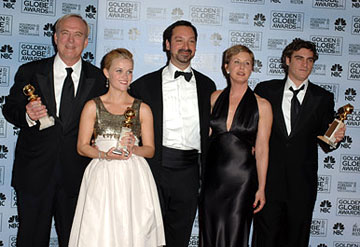 "James Keach, Reese Witherspoon, James Mangold, Cathy Konrad, and Joaquin Phoenix Best Musical or Comedy - ""Walk the Line"" 63rd Annual Golden Globe Awards - Press Room Beverly Hills, CA - 1/16/06"