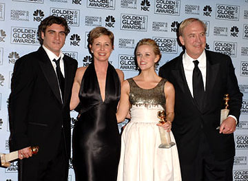 "Joaquin Phoenix, Cathy Konrad, Reese Witherspoon and James Keach Best Musical or Comedy - ""Walk the Line"" 63rd Annual Golden Globe Awards - Press Room Beverly Hills, CA - 1/16/06"