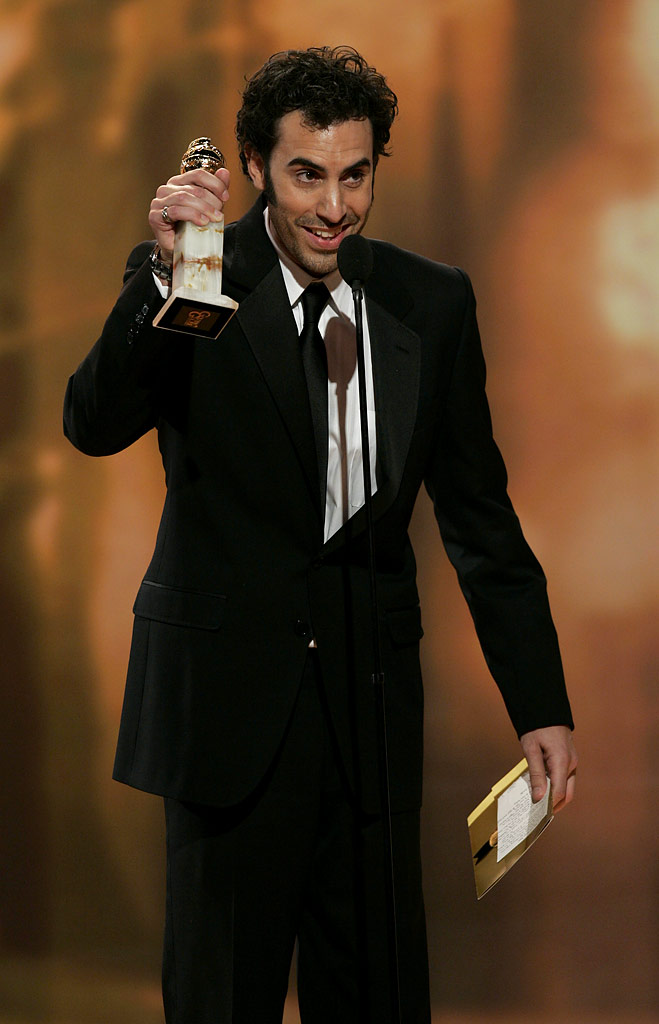 Sasha Baron Cohen makes us laugh outloud during his acceptance speech at the 64th annual Golden Globe Awards.