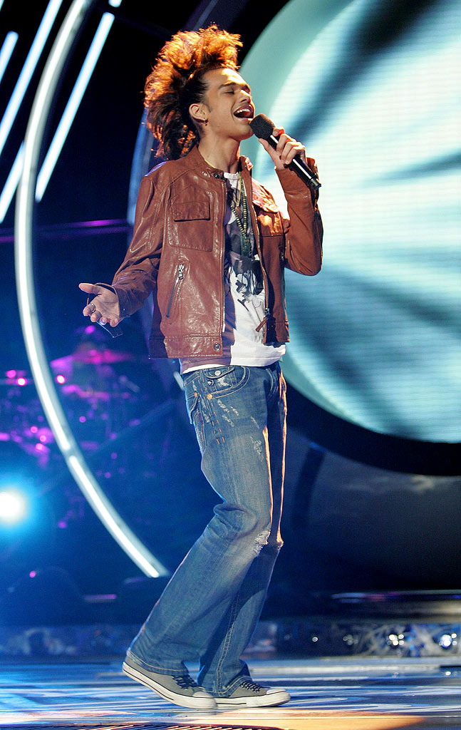 Sanjaya Malakar performs as one of the top 10 contestants on the 6th season of American Idol.