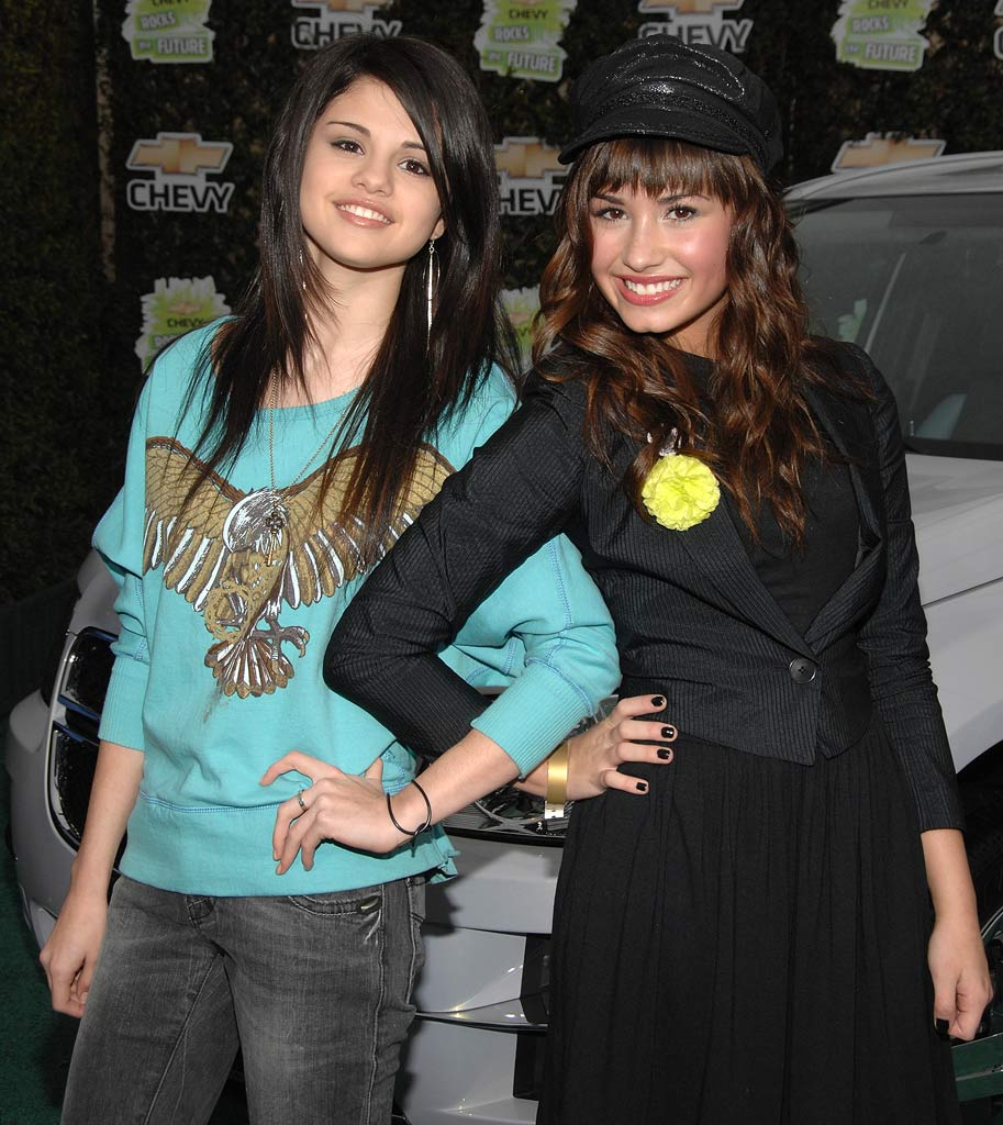 "Selena Gomez and Demi Lovato arrive at ""Chevy Rocks the Future"" held at the Walt Disney Studios on February19, 2008 in Burbank, California."