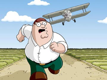 "Peter Griffin (voiced by Seth MacFarlane) in the episode ""North by North Quahog"" Family Guy"