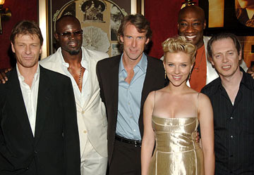 Premiere: Sean Bean, Djimon Hounsou, director Michael Bay, Scarlett Johansson, Michael Clarke Duncan and Steve Buscemi at the New York premiere of Dreamworks' The Island - 7/11/2005