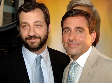Premiere: Director Judd Apatow and Steve Carell at the Hollywood premiere of Universal Pictures' The 40-Year-Old Virgin - 8/11/2005