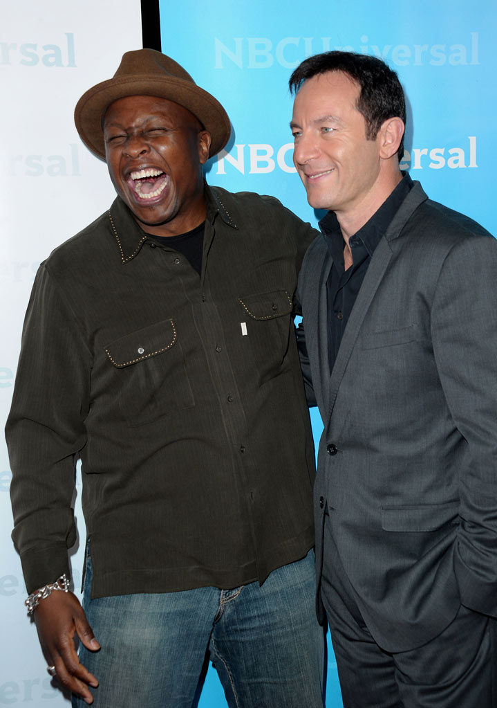 "Steve Harris and Jason Isaacs (""Awake"") attend the 2012 NBC Universal Winter TCA All-Star Party at The Athenaeum on January 6, 2012 in Pasadena, California."