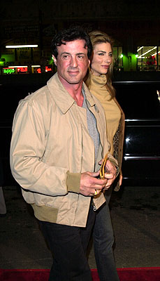 Premiere: Sylvester Stallone and Jennifer Flavin at the Mann's Chinese Theater premiere of Warner Brothers' 3000 Miles To Graceland - 2/20/2001