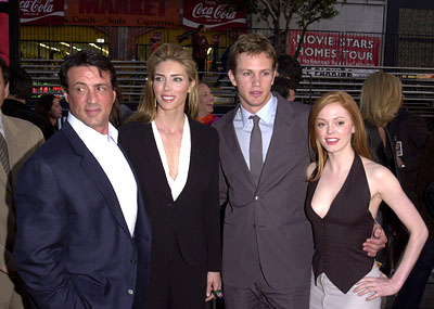 Premiere: Sylvester Stallone, Jennifer Flavin,  Kip Pardue and Rose McGowan at the Hollywood premiere of Warner Brothers' Driven - 4/16/2001