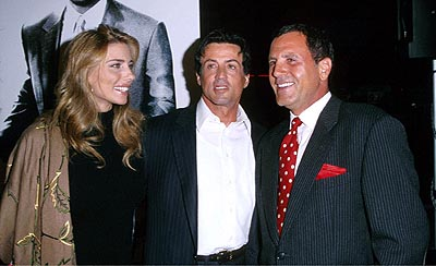 Premiere: Jennifer Flavin, her husband Sylvester Stallone and her brother-in-law Frank Stallone at the Mann's Bruin Theater premiere of Warner Brothers' Get Carter - 10/4/2000