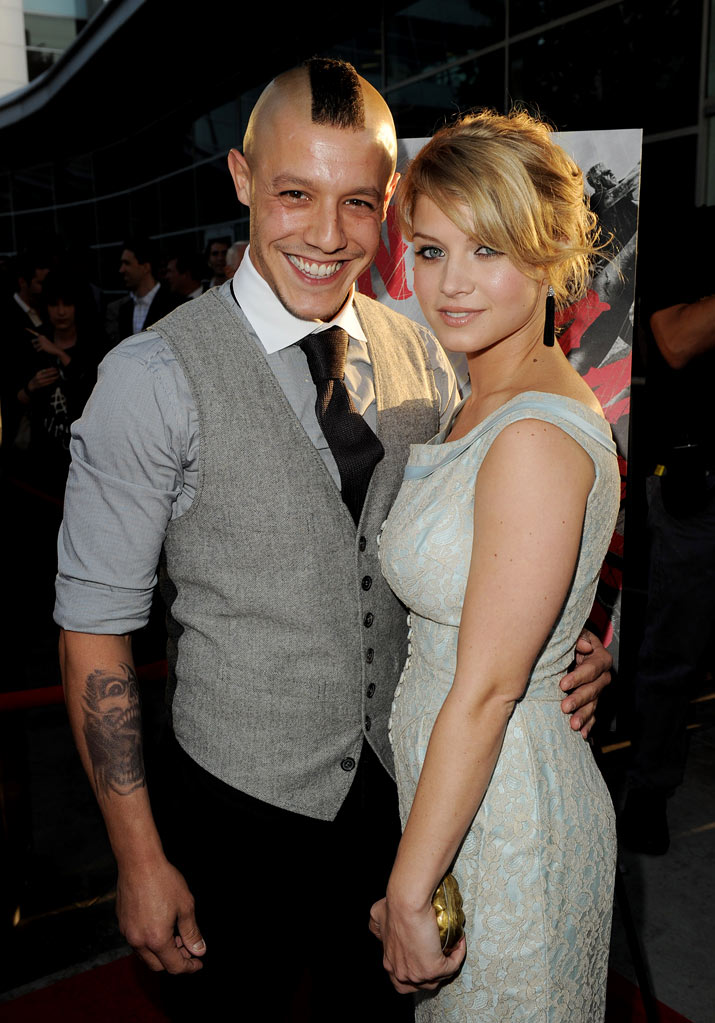 "Theo Rossi and Sarah Jones attend FX's ""Sons Of Anarchy"" Season 3 premiere on August 30, 2010, in Hollywood."