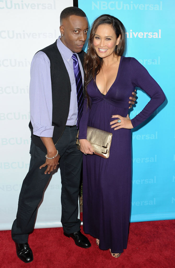 "Arsenio Hall and Tia Carrere (""Celebrity Apprentice"") attend the 2012 NBC Universal Winter TCA All-Star Party at The Athenaeum on January 6, 2012 in Pasadena, California."