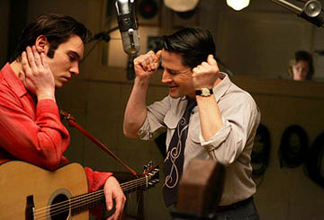 "Elvis (Jonathan Rhys-Meyers) recording at Sun Records with producer Sam Phillips (Tim Guinee) ""Elvis"" - 2005"