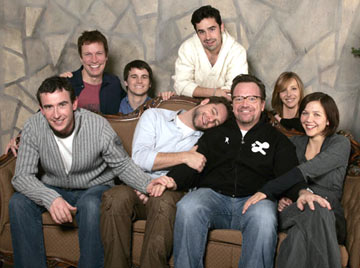 (Front Row) Steve Coogan,  David Sutcliffe, Tom Arnold, Maggie Gyllenhaal (Back Row) director Don Roos, Jason Ritter, Jesse Bradfordand Lisa Kudrow Happy Endings Portraits - 1/21/2005 Sundance Film Festival