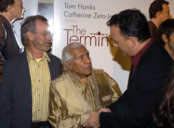 Premiere: Steven Spielberg, Kumar Pallana and Tom Hanks at the Beverly Hills premiere of DreamWorks' The Terminal - 6/9/2004