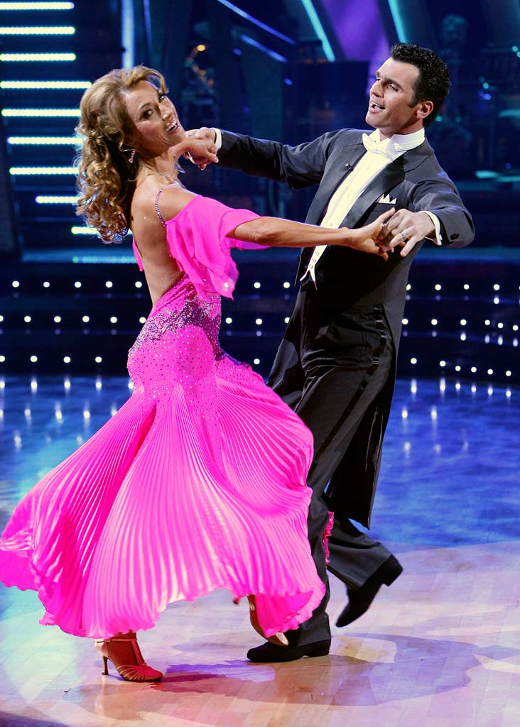 Jane Seymour and Tony Dovolani perform a dance in the 5th season of Dancing with the Stars.