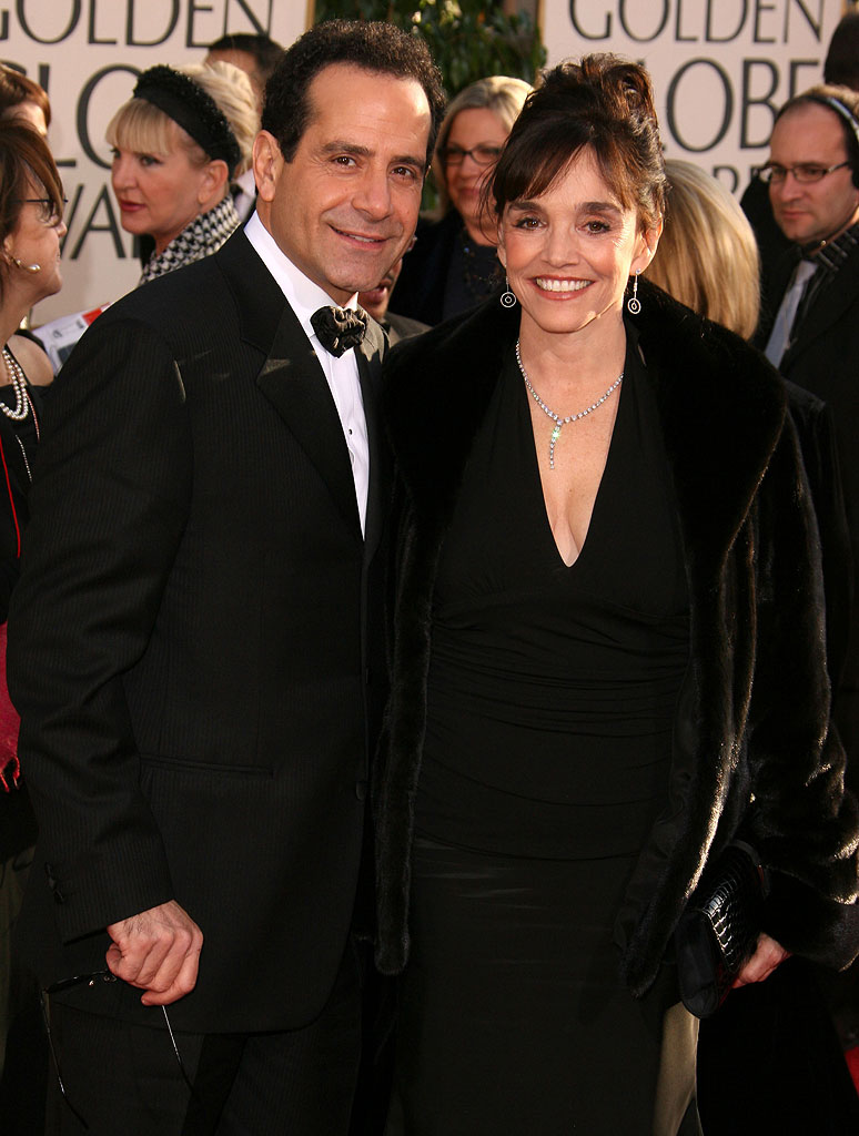 Tony Shalhoub and Brooke Adams at the 64th annual Golden Globe Awards.