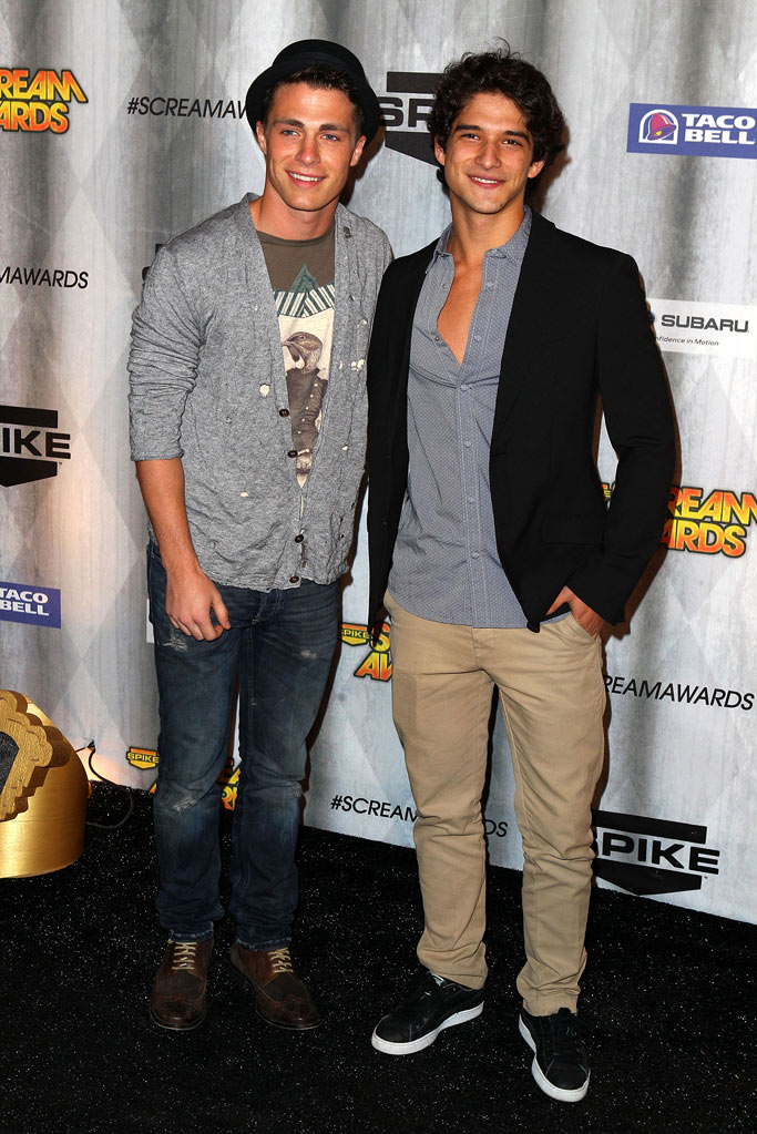 "Colton Haynes and Tyler Posey arrive at Spike TV's ""Scream 2011"" at Universal Studios on October 15, 2011 in Universal City, California."