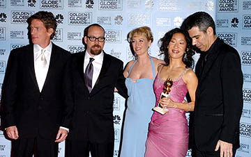 Thomas Haden Church, Paul Giamatti, Virginia Madsen,  Sandra Oh and Michael London of Sideways Best Motion Picture - Musical or Comedy Golden Globe Awards - 1/16/2005