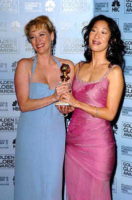 Virginia Madsen and Sandra Oh of Sideways Best Motion Picture - Musical or Comedy Golden Globe Awards - 1/16/2005